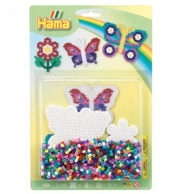 Hama Midi - darčeková sada - motýľ a kvetina - 1.100 ks