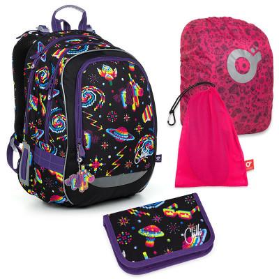 Set pre školáka CODA 19006 G SET LARGE - školská taška, vrecko na prezuvky, pláštenka na batoh, školský peračník