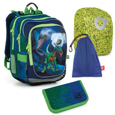 Set pre školáka ENDY 19013 B SET LARGE - školská taška, vrecko na prezuvky, pláštenka na batoh, školský peračník