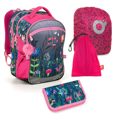 Set pre školáka COCO 19002 G SET LARGE - Školská taška, Vrecko na prezuvky, Pláštenka na batoh, Školský peračník
