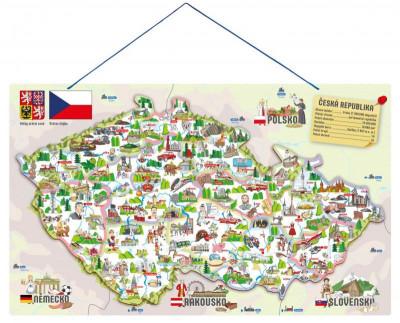 Magnetická mapa ČR s obrázkami a spoločenská hra, 3 v 1