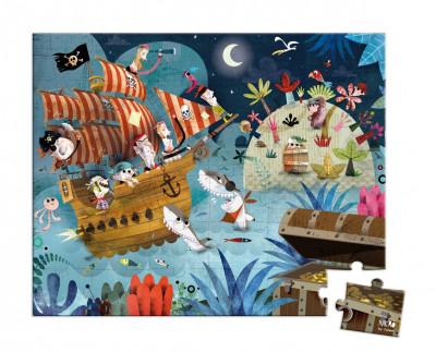 Detské puzzle Lovci pokladov v okrúhlom kufríku - 36 dielov