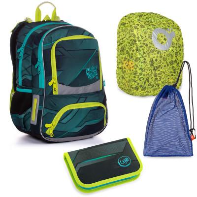 Set pre školáka NIKI 20022 B SET LARGE školská taška, vrecko na prezuvky, pláštenka na batoh, školský peračník