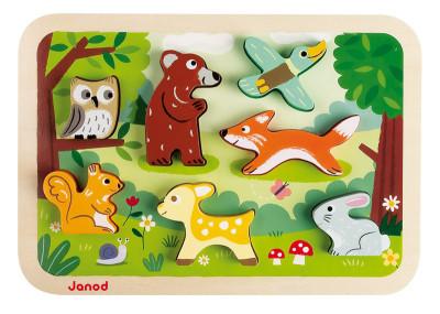 Drevené vkladacie puzzle pre najmenších Lesné zvieratá