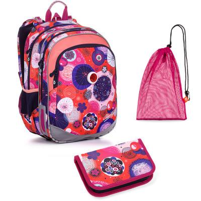 Sada pre školáčku ELLY 20005 G SET MEDIUM - školská taška, vrecko na prezuvky, školský peračník