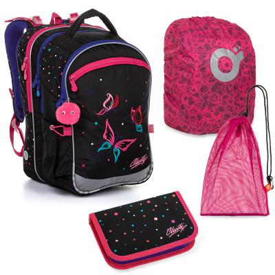 Set pre školáčku COCO 20004 G SET LARGE školská taška, vrecko na prezuvky, pláštenka na batoh, školský peračník