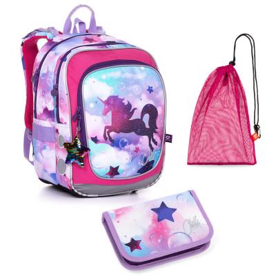 Set pre školáčku ENDY 20002 G SET MEDIUM - školská taška, vrecko na prezuvky, školský peračník