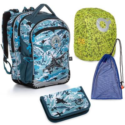 Set pre školáka COCO 20016 B SET LARGE školská taška, vrecko na prezuvky, pláštenka na batoh, školský peračník