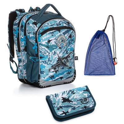Set pre školáka COCO 20016 B SET MEDIUM - školská taška, vrecko na prezuvky, školský peračník