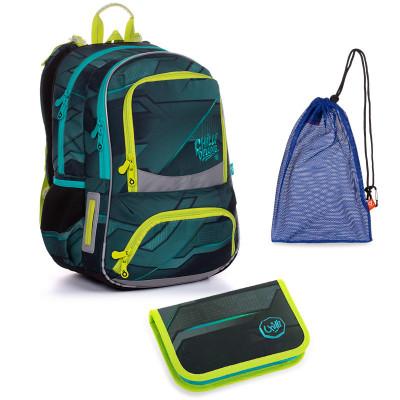 Set pre školáka NIKI 20022 B SET MEDIUM - školská taška, vrecko na prezuvky, školský peračník