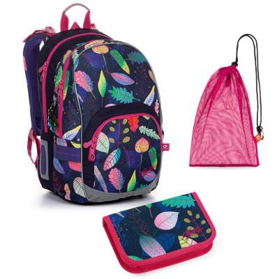 Sada pre školáčku KIM 20010 G SET MEDIUM - školská taška, vrecko na prezuvky, školský peračník