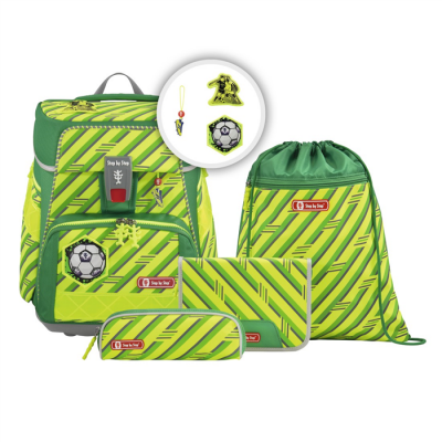 Školská aktovka Space pre prváčikov - 5-dielny set, Step by Step NEON Futbal, certifikát AGR