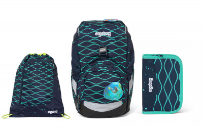 Školský set Ergobag prime Waves 2020 - batoh + peračník + športový vak