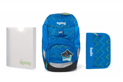 Školský set Ergobag prime Modrý zig zag 2020 - batoh + peračník + dosky