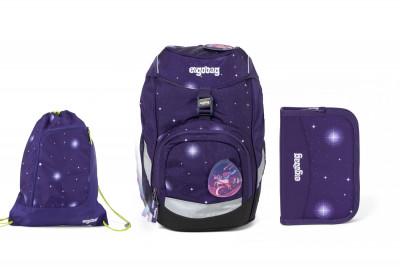 Školský set Ergobag prime Galaxy fialový 2020 - batoh + peračník + športový vak