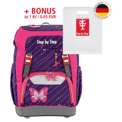 Školský ruksak Step by Step GRADE - Trblietavý motýl + dosky na zošity za 0,05 EUR