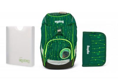Školský set Ergobag prime Fluo zelený 2020 - batoh + peračník + dosky