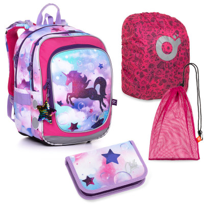 Set pre školáčku ENDY 20002 G SET LARGE - Školská taška, Pláštenka na batoh, Vrecko na prezuvky, Školský peračník