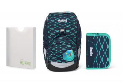 Školní set Ergobag prime Waves 2020 - batoh + penál + desky