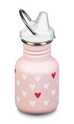 Detská nerezová fľaša Klean Kanteen Kid Classic w/Kid Sippy Cap - millennil hearts matte 355 ml