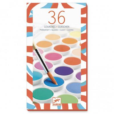 Vodové farby so štetcom, 36 krásnych farieb
