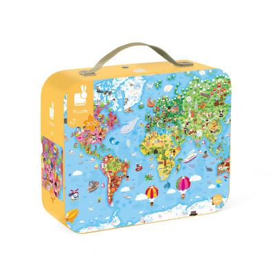 Puzzle - Mapa sveta v kufríku - 300 ks