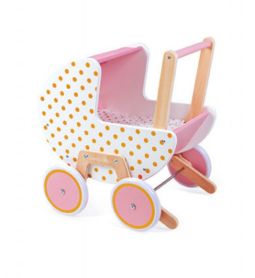 Drevený kočík pre bábiky - Candy Chic