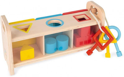 Vkladanie a triedenie tvarov so zámkami a kľúčmi - séria Montessori