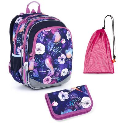Sada pre školáčku Topgal ELLY 21004 G SET MEDIUM - Školská taška, Vrecko na prezuvky, Školský peračník