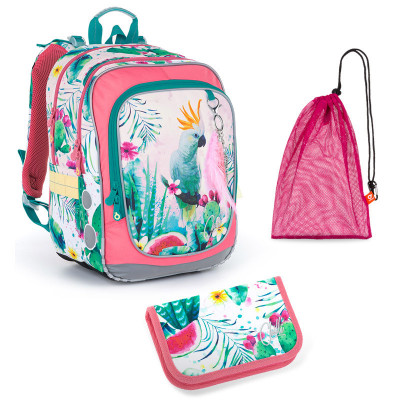 Sada pre školáčku Topgal ENDY 21002 G SET MEDIUM - Školská taška, Vrecko na prezuvky, Školský peračník