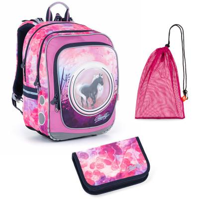 Sada pre školáčku ENDY 19005 G SET MEDIUM - Školská taška, Vrecko na prezuvky, Školský peračník