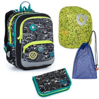 Sada pre školáka Topgal BAZI 21014 B SET LARGE - školská taška, vrecko na prezuvky, pláštenka na batoh, školský peračník