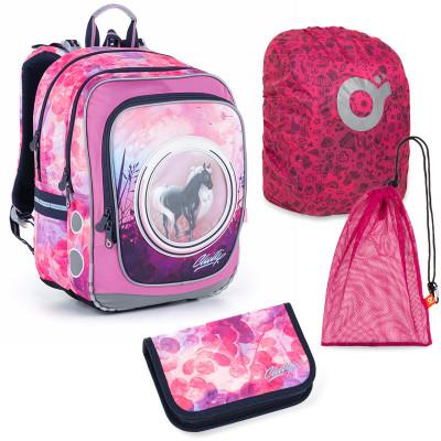 Sada pre školáčku Topgal ENDY 21005 G SET LARGE - školská taška, vrecko na prezuvky, pláštenka na batoh, školský peračník