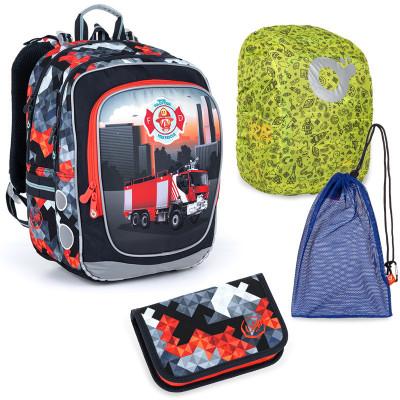 Sada pre školáka Topgal ENDY 21013 B SET LARGE - školská taška, vrecko na prezuvky, pláštenka na batoh, školský peračník