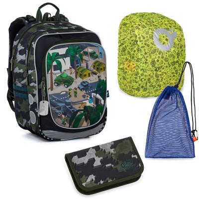 Sada pre školáka Topgal ENDY 21016 B SET LARGE - školská taška, vrecko na prezuvky, pláštenka na batoh, školský peračník