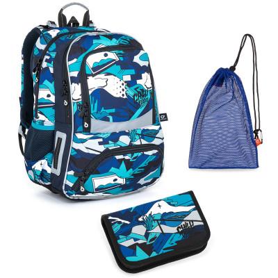 Set pre školáka Topgal NIKI 21022 B SET MEDIUM - školská taška, vrecko na prezuvky, školský peračník