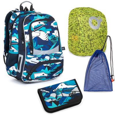 Set pre školáka NIKI 21022 B SET LARGE školská taška, vrecko na prezuvky, pláštenka na batoh, školský peračník