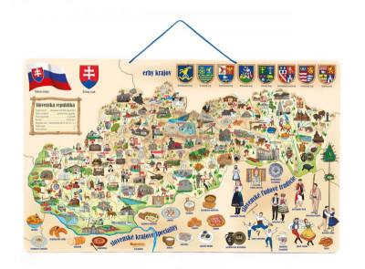 Magnetická mapa Slovenska s obrázkami a spoločenská hra, 3v1