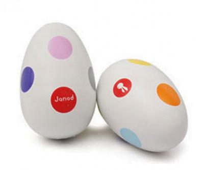 Drevené hrkajúce vajíčko - Confetti
