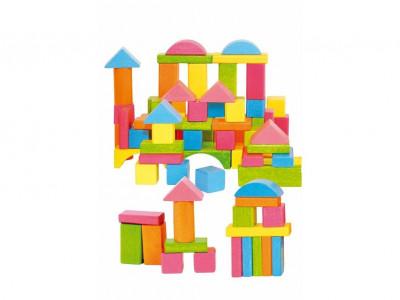 Stavebnica kocky farebné vo vedierku – 75 ks