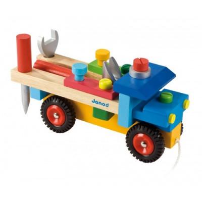 Drevené auto a stavebnica pre chlapcov s náradím