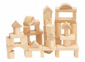 Stavebnice kostky přírodní v kartonu