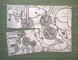 Skládací pohledy - Slunce v lese - omalovánky
