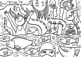 Skládací pohledy - Voda je život - omalovánky