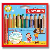 Farbičky Stabilo Woody 3 in 1 - 10 barev