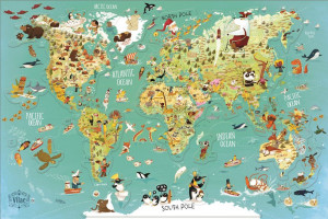 Vilac – Nástenná magnetická mapa sveta 78 dielikov, anglické texty
