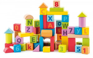Pastelové kocky s písmenami a číslicami – 60 ks