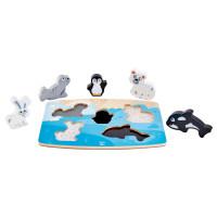 Hmatové vkládací puzzle - Polární zvířátka