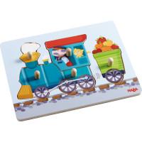 Dřevěné vkládací puzzle - mašinka - 5 dílků
