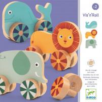 Zvířata na kolečkách - dřevěná šroubovací hra